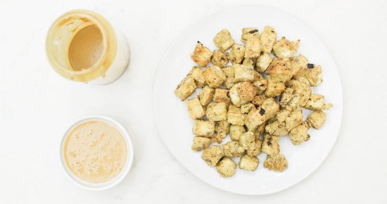 Crispy Tofu with Spicy Peanut Dipping Sauce (Vegan)