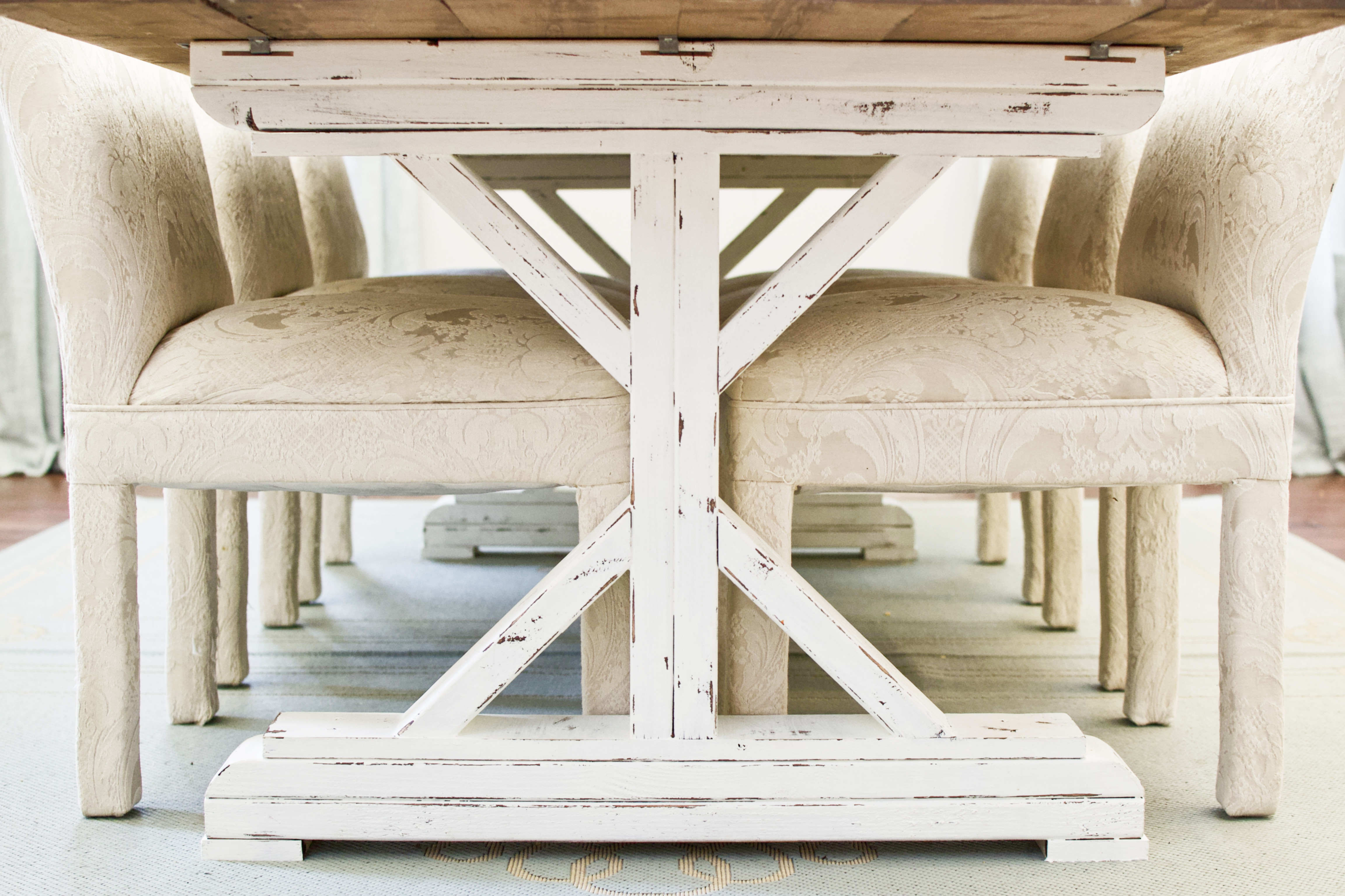How To Paint Stain Whitewash Distress A Fancy X Farmhouse Table By Ana White Building Our Rez