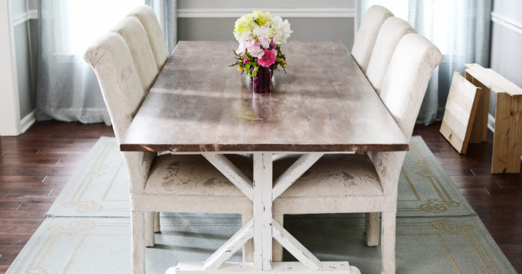 How to Paint, Stain, Whitewash & Distress a Fancy X Farmhouse Table by Ana White