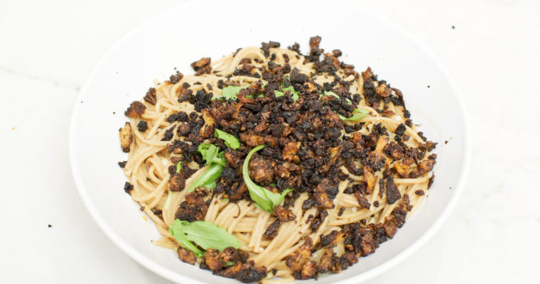 "Lemon & Arugula Pasta with Spicy Cauliflower ""Meat"" Recipe (Vegan)"