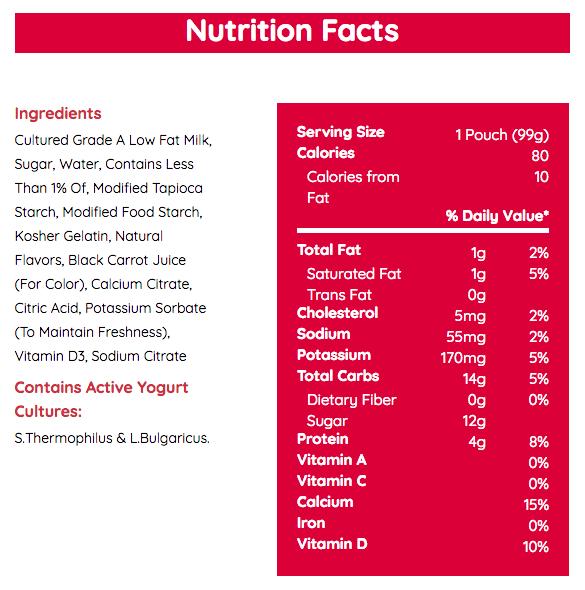 Danimals Yogurt Nutrition Label