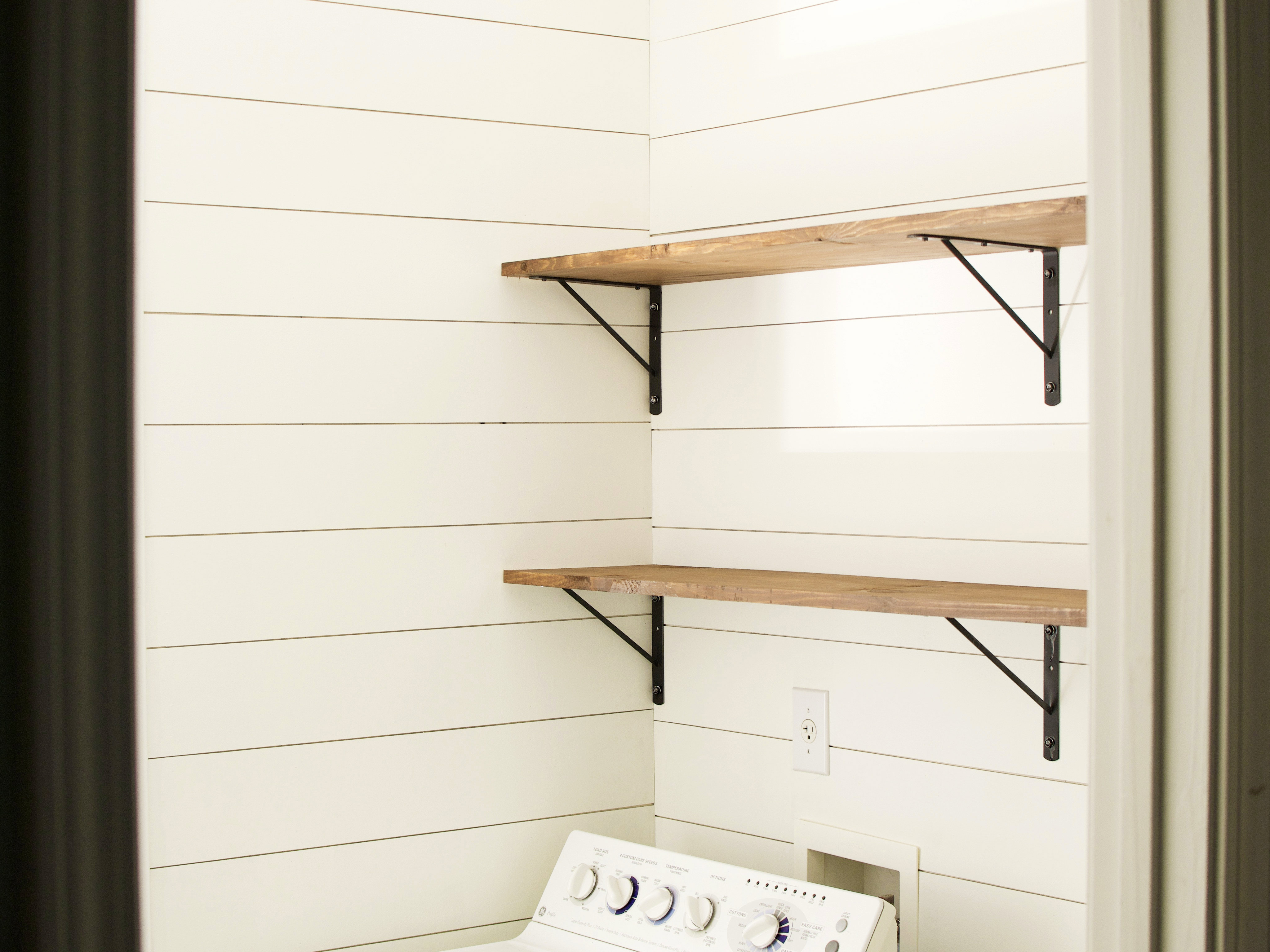 Install Diy Stained Wood Shelves