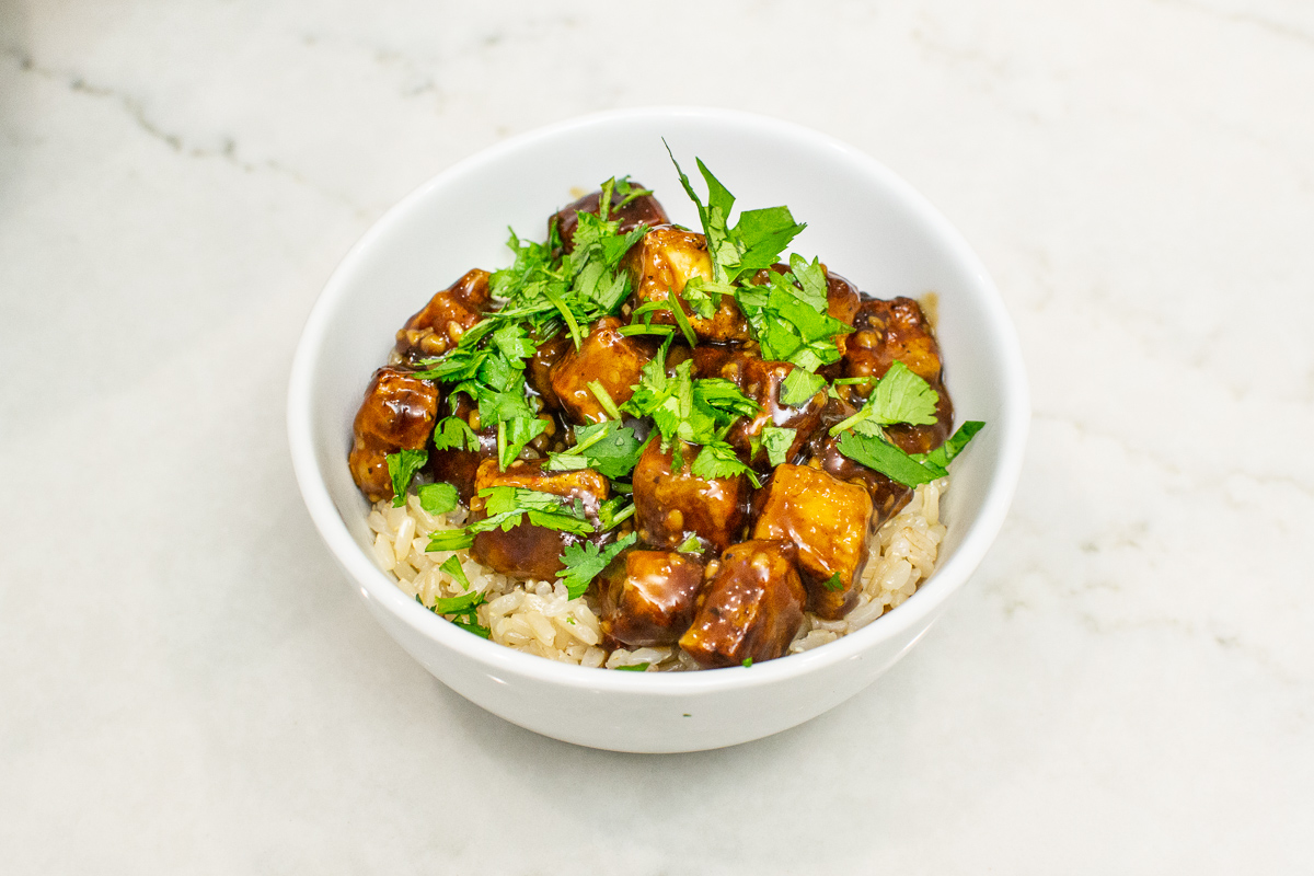 General Tso's Tofu with Instant Pot Sticky Brown Rice Recipe for Meatless Monday