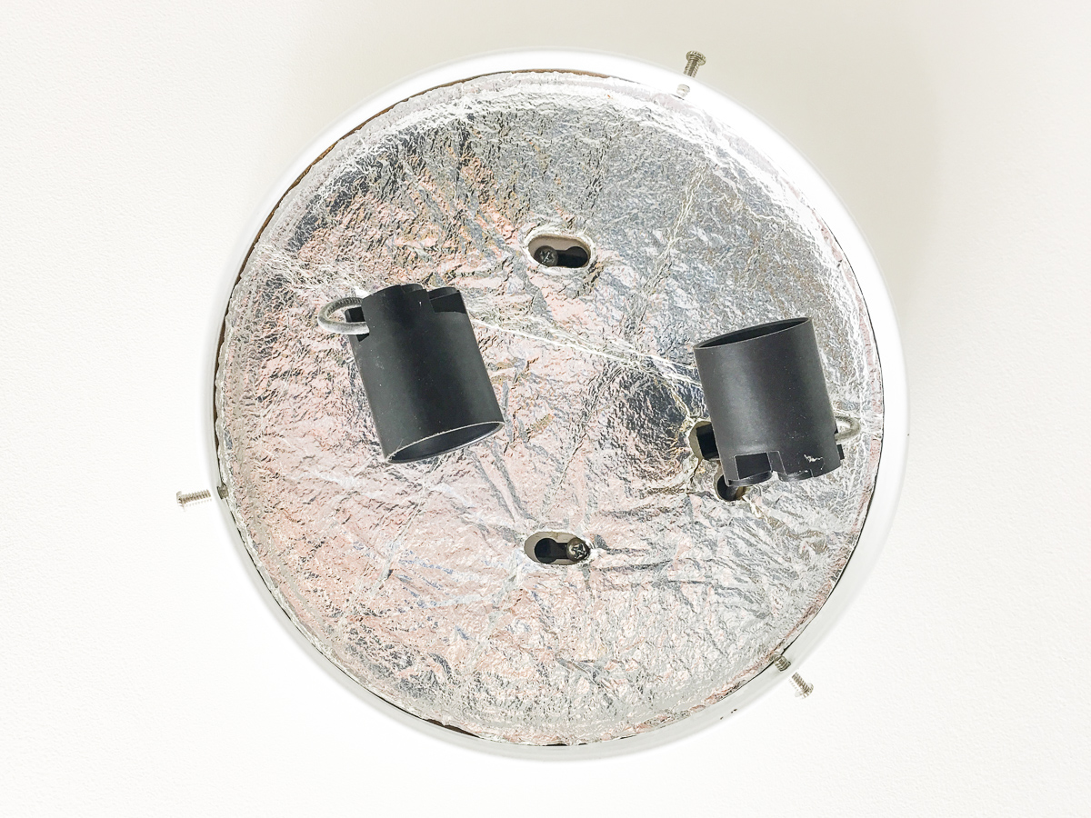 How To Change A Wall Or Ceiling Light Fixture Building Our Rez Wiring Black Wire Eg Wires White Bare Copper Ground Nuts Should Be Connecting The Base Of Old Coming Out