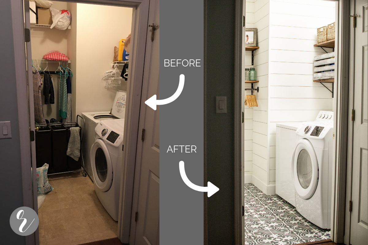 Laundry Room Renovation Reveal & 30 Step-By-Step Tutorials