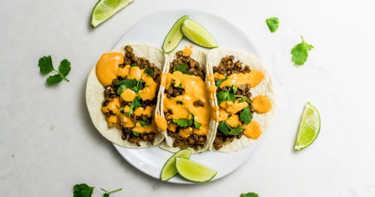 Lentil and Walnut Tacos with Creamy Chipotle Sauce Recipe (Vegan, Meatless Monday)