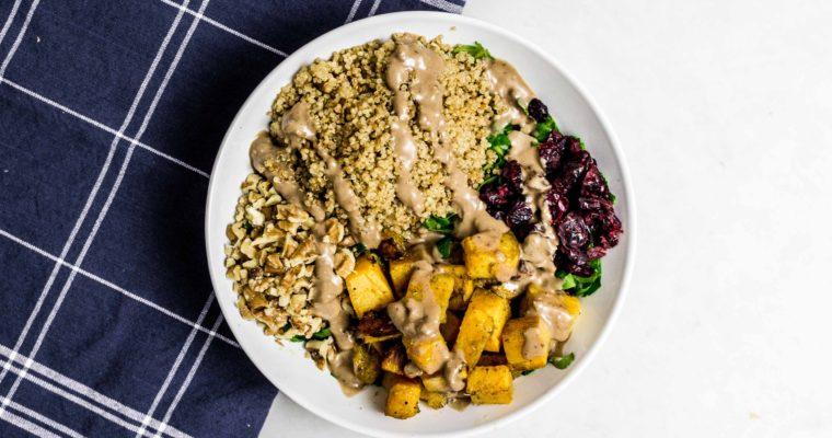 Roasted Butternut Squash, Kale and Quinoa Salad with Lemon-Balsamic Vinaigrette Recipe (Vegan)